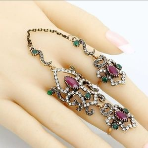 Arabic Ring Set- Ruby n Emerald